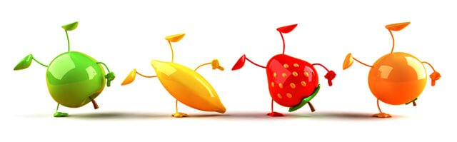 3-D fruit characters balancing on one arm