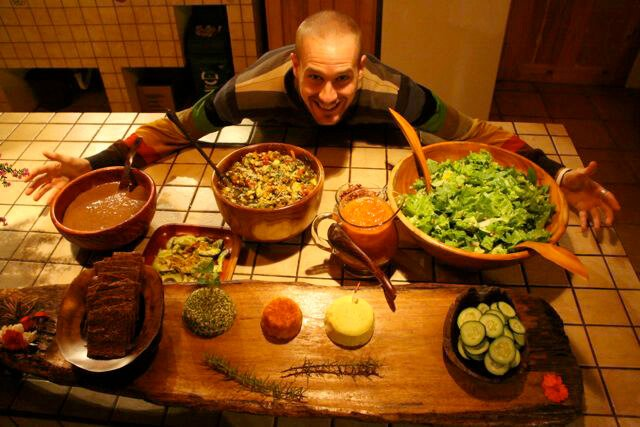 Chris Kendall's raw food dinner spread