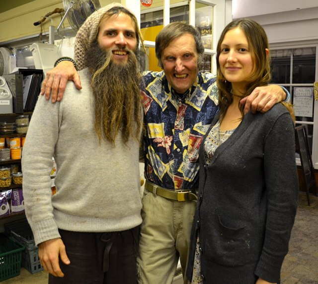 Matthew David and Julie Kersey pose with Arnold Kauffman at Arnold's Way