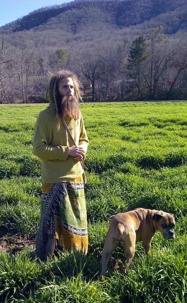Matthew David photographed with his dog, Pomona