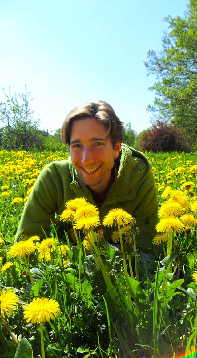 Jesse Bogdanovich in a field of dandelions