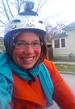 Victoria Everett rides a bicycle in Boise, Idaho