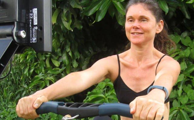 Janie Gardener uses a rowing machine
