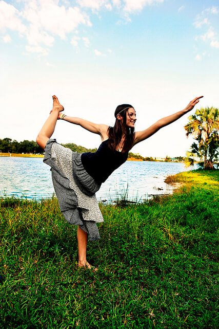 Julie Kersey practices yoga outside