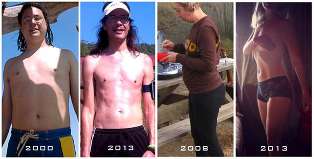 Before and after photos of Happy Healthy Vegan's Ryan Lum and Anji Bee