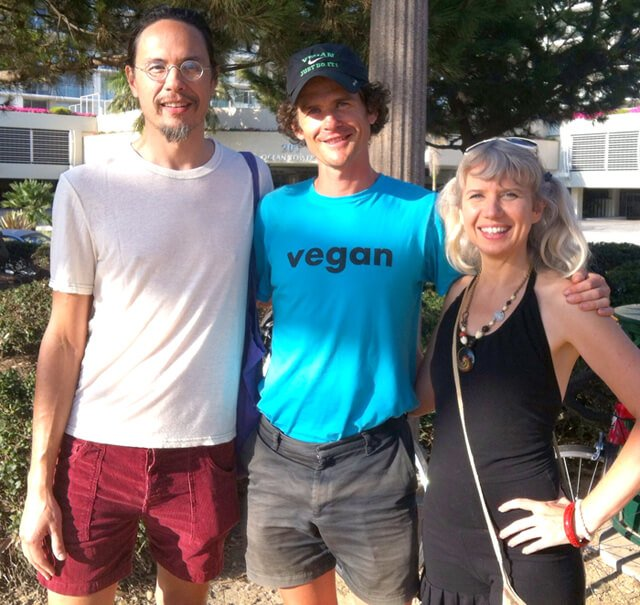 Happy Healthy Vegan's Ryan Lum and Anji Bee pose with Harley Johnstone, a.k.a. Durianrider