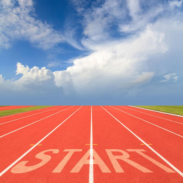 """Running track with """"start"""" sign"""