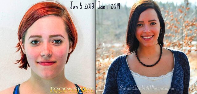 Before-and-after photos of Jennelle LeMoine on a wholly low-fat raw food diet