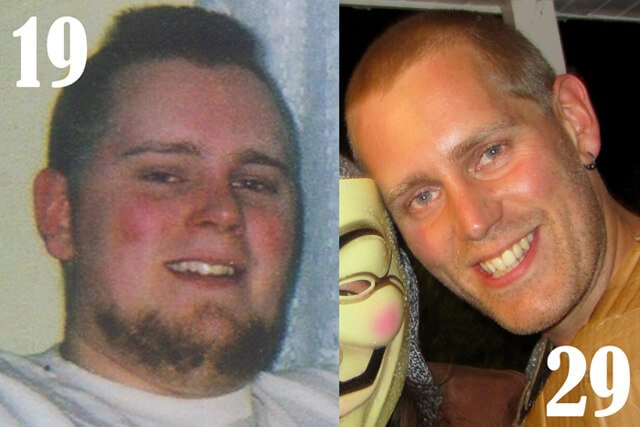 Josh Tiska before and after a low-fat raw vegan diet
