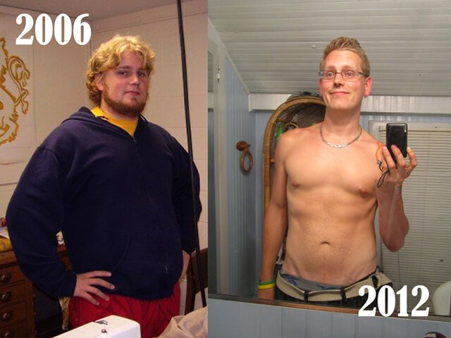 Josh Tiska photographed in 2006 and 2012, before and after a low-fat raw vegan diet