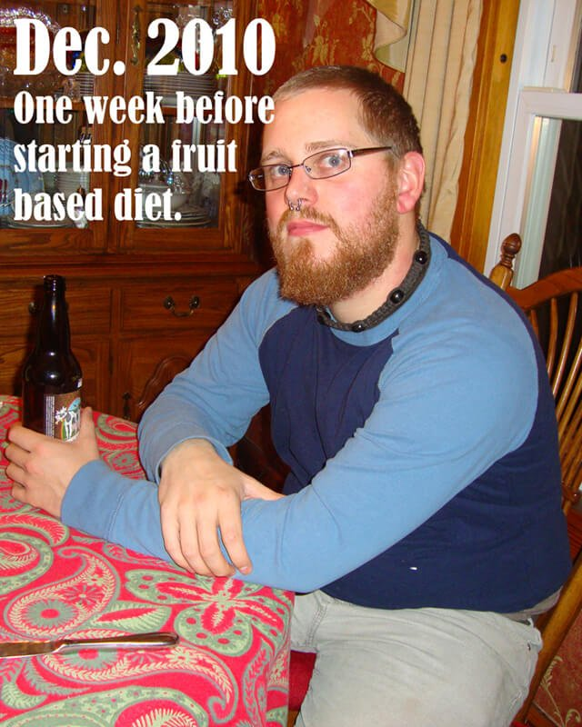 Josh Tiska photographed a week before starting a low-fat raw food diet