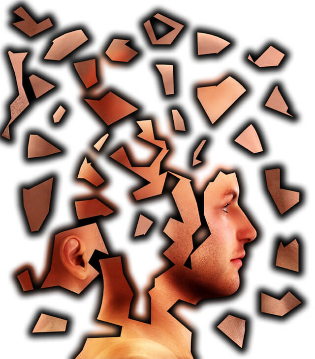 Conceptual image showing a man's mind that is cracking up