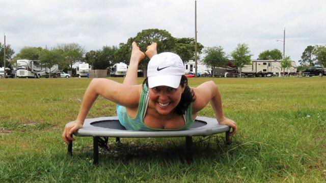 Joy King photographed on her rebounder