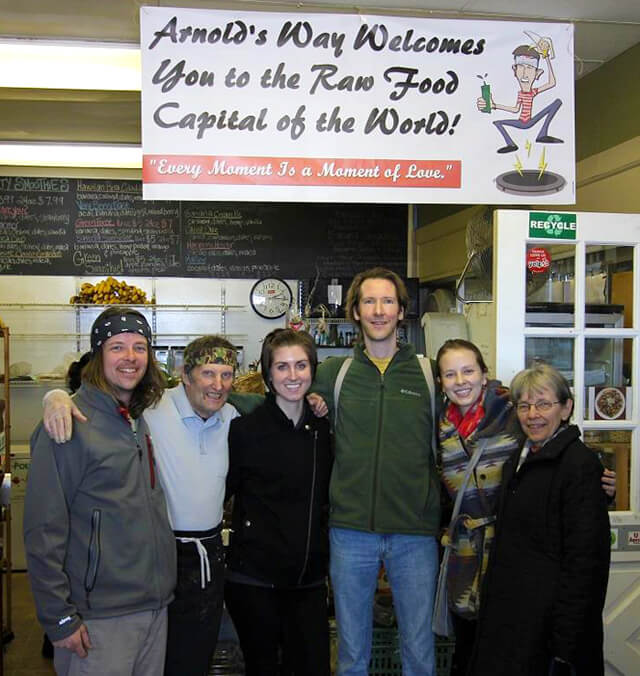 Dan McGrogran and the Nucleus Raw Foods crew visits Arnold's Way with Arnold Kauffman and Brian Rossiter