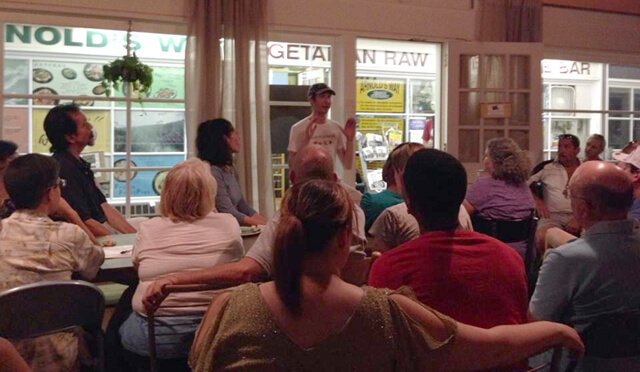 Brian Rossiter speaks at the June 2014 All-You-Can-Eat Buffet at Arnold's Way