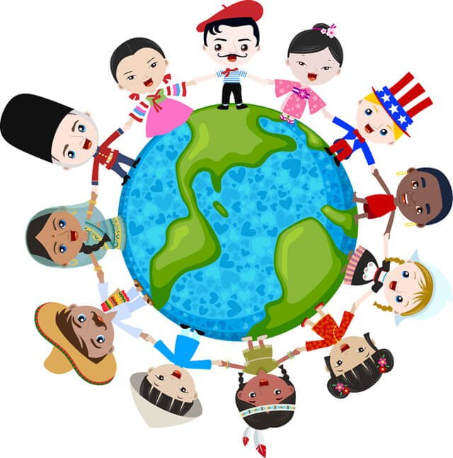 Multicultural children in unison, depicting world peace