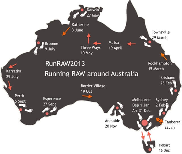 RunRAW2013—Running Raw Around Australia map