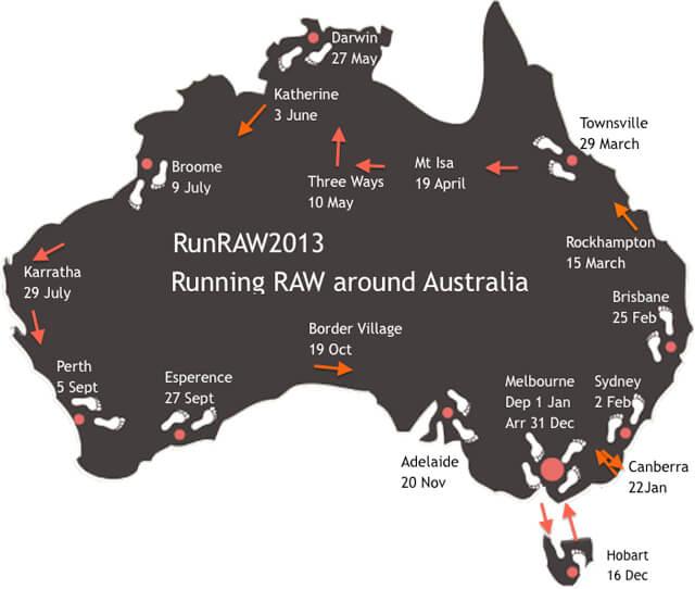 RunRAW2013—Running Raw Around Australia map