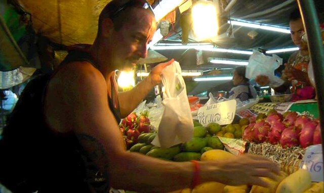 Victor VanRambutan shops for fruits abroad
