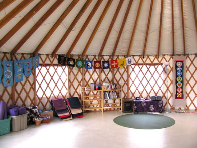 A yurt for yoga in Ellen Livingston's back yard