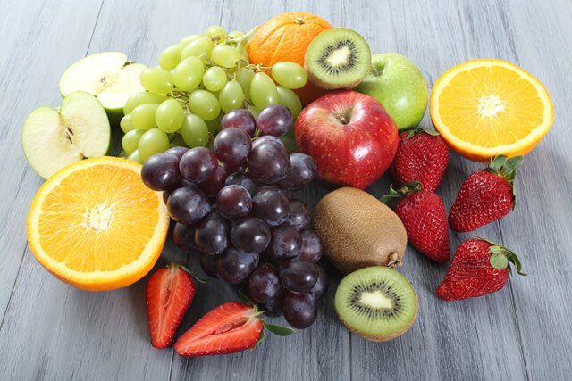 Fruits rest on a table