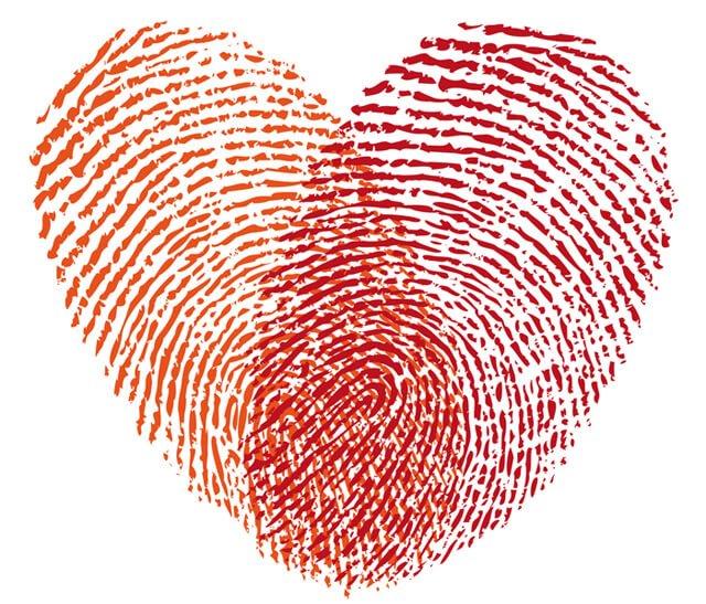 Red heart made from fingerprints
