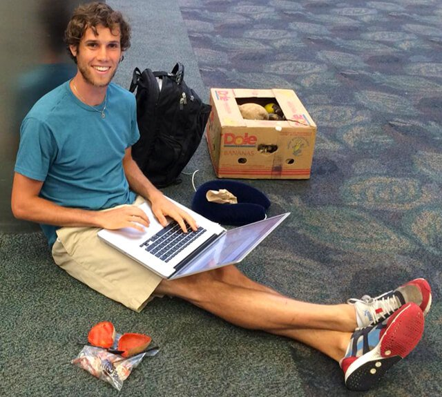 Robby Barbaro travels with fruits in a box