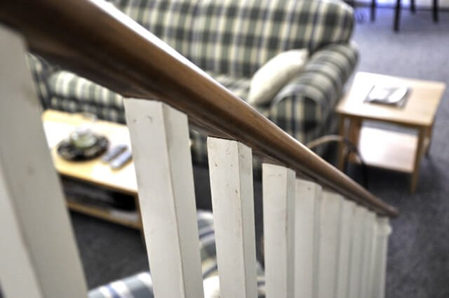Stairway railing stain and paint