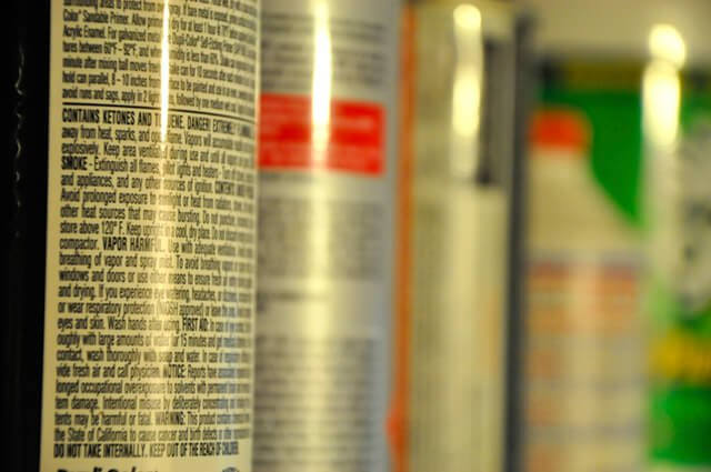 Warning label affixed to a household product
