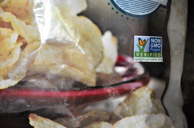 Non-GMO label on a bag of potato chips