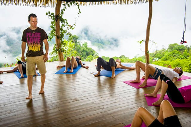 Dr. Samuel Mielcarski leads an exercise class at a RAW-habilitation Retreat
