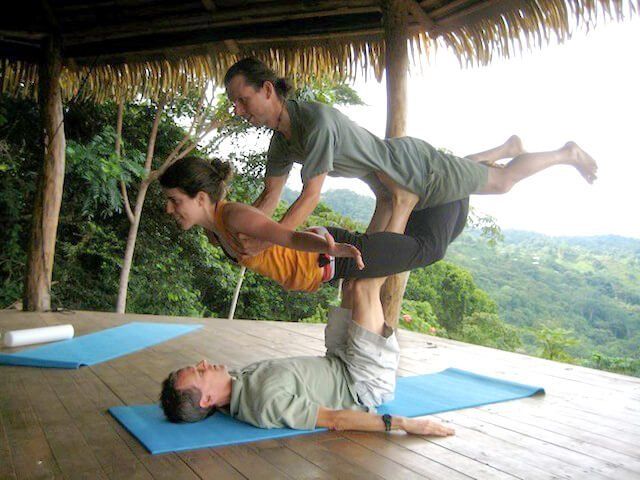 Dr. Samuel Mielcarski practices acro-yoga