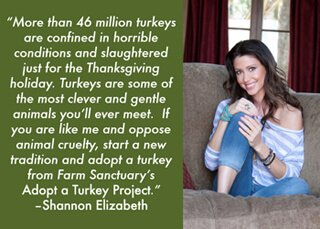A Farm Sanctuary message from Shannon Elizabeth for its Adopt a Turkey Project