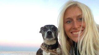 Natalie Lenka poses with her dog