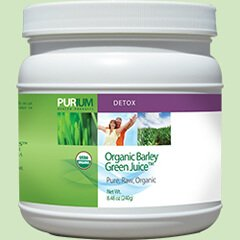 Container of Purium Organic Barley Green Juice