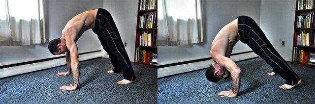 Korey Constable performs pike push-ups