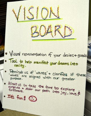 A sign in Deanna Husk's vision board workshop at Arnold's Way