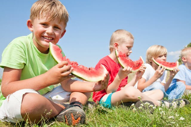 Boys eat large watermelon slices on grass under a bright blue sky