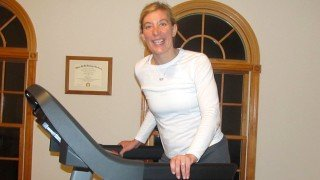 Cassandra Glynn Kutner walks on a treadmill