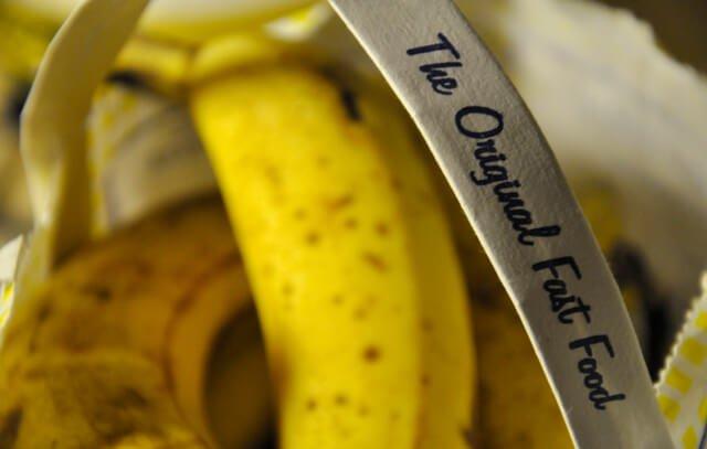 "A bag with bananas saying ""The Original Fast Food"""