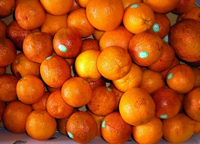 A mound of blood oranges
