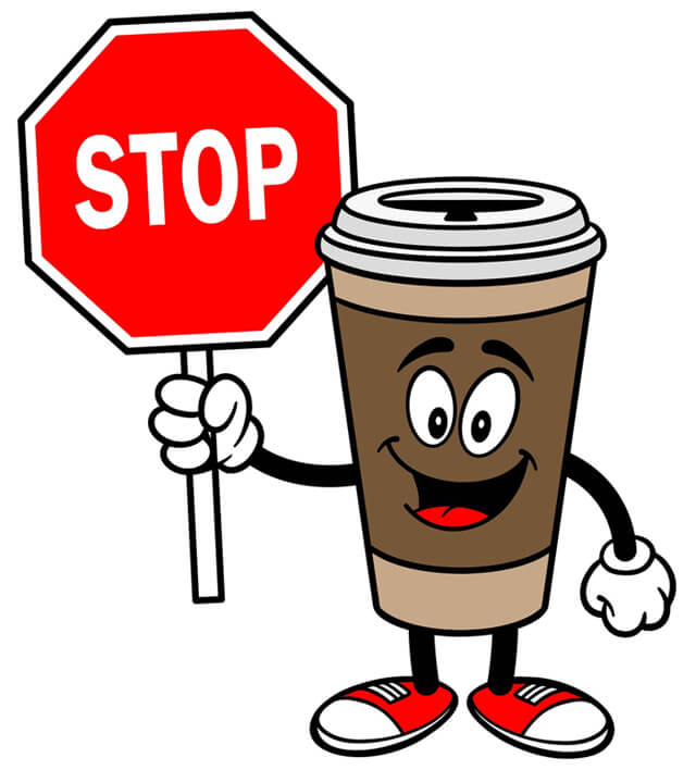 A coffee cup with a stop sign in cartoon format