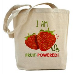 I Am Fruit-Powered strawberries design on a tote bag