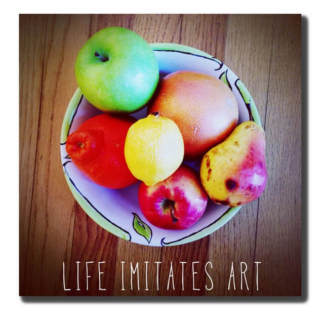 "Jenny Lapan's ""Life Imitates Art"" image of fruits in a bowl"