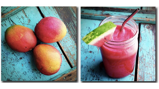 Mangos and watermelon smoothie in photos by Jenny Lapan