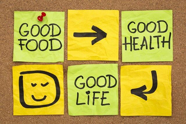 "A concept piece saying ""Good food, good health, good life"""