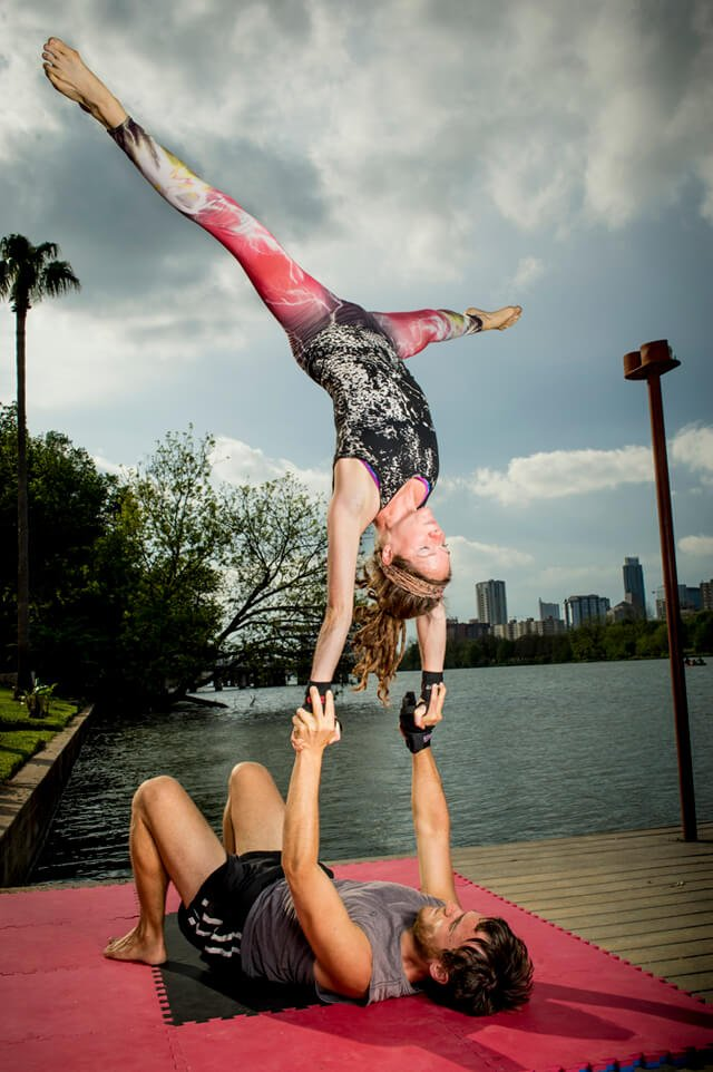 Brittany Taylor and Andrew Perlot performing acroyoga