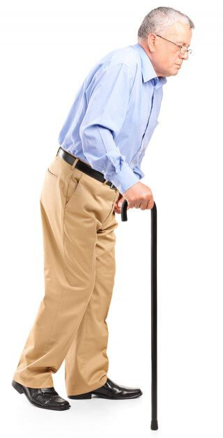 Old man walking with cane on a white background