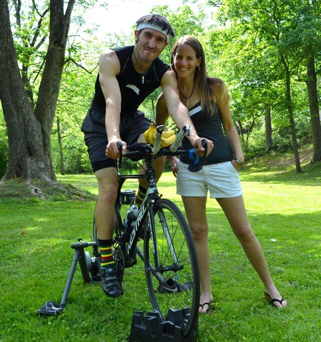 Bill Salamone rides his stationary bike at Banana Fest