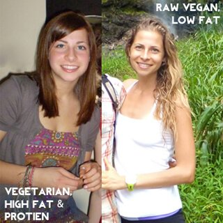Kat Green photos on a high-fat vegetarian diet and low-fat raw vegan diet